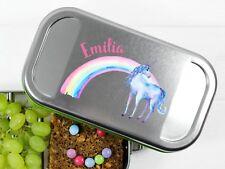 Lunchbox Einhorn mit Regenbogen und Namen BPA-frei