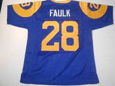 UNSIGNED CUSTOM Sewn Stitched Marshall Faulk Blue Jersey - 3XL