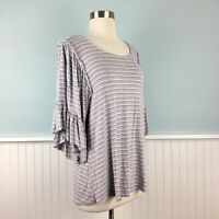 Size Large L Bobeau Women's Gray Knit Ruffled 3/4 Sleeve Shirt Top Blouse NWT