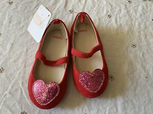 NEW Gymboree Toddler Girls Glitter Heart Flat Shoes  Sz-6 NWT $36