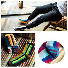New #U 5 Pairs Mens Socks Lot Cotton Knit Warm Multi-color Striped Casual Socks