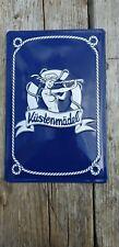 Retro Küstenmädel Emaille Blechschild geprägt maritim