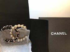 New Auth CHANEL 2017 XLarge Pearl Black Lace CC Logo Brooch Gorgeous!
