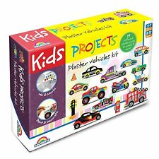 Kids Projects PLASTER VEHICLES KIT Different 15Pcs To Mould & Create, Paintable