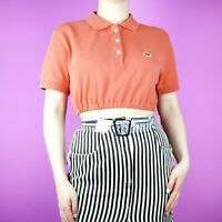VINTAGE Lacoste Pastel Orange Polo Rework 90s Crop Designer Shirt Top S 8 10 12