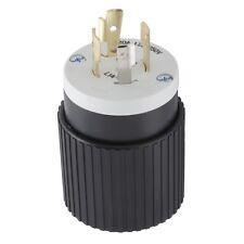 Hubbell 20 Amp 125-Volt Black/White 4-Wire Locking Grounding Plug