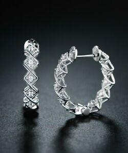 Sevil 18K White Gold Plated Swarovski  Elements Filigree Huggie Hoop Earrings
