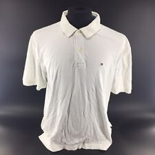Tommy Hilfiger Solid White Golf Men's Sz XL Polo Shirt 100% Cotton Rugby H3B
