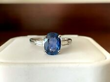Natural Blue 1.76 carat Cushion Cut Sapphire and Diamond Ring GIA Certified
