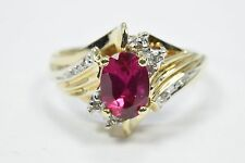 Women's 10k Solid Yellow Gold 1.21 tcw Ruby & Diamond Cocktail Ring
