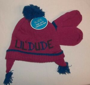 Childrens Place Red &Blue Knit Hat & Mittens Medium 2T/3T NWTS!