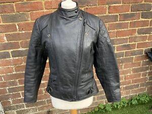 Vintage WOLF Leathers Black leather Motorcycle Biker cafe racer Monza jacket 38