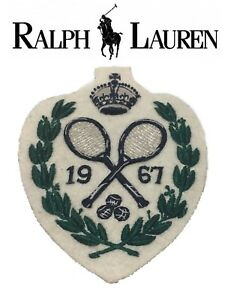 NEW Polo Ralph LaurenTennis 1967 Crowned Crossed Rackets Laurel Wreath Patch
