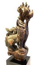 Burmese antique Chinthe mythological figure wood statue