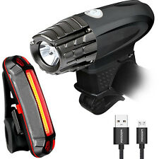 Durable Waterproof Two USB Rechargeable Bike Light Front Light + LED Tail Light