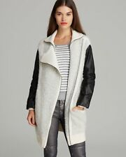[Marc by Marc Jacobs] Nessi Leather Ribbed Knit-trimmed Wool-Blend Boucle Coat