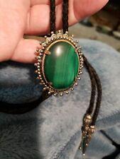 Estate Sale Bolo Tie With Green Malachite Center Stone Beautiful