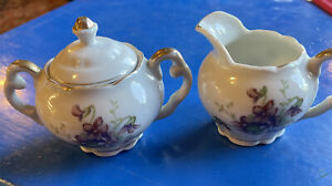 PITCHER AND SUGAR BOWL SET  MADE IN JAPAN. PURPLE VIOLETS