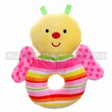 """5"""" Cute Pink Butterfly Super Soft Bed Rattle Soft Plush Toy Ring For Baby Kids"""