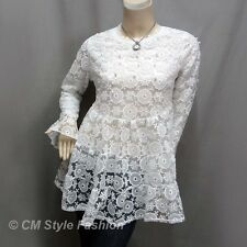 Chic Cute Floral Lace Mesh Beaded Babydoll Tunic Top White M