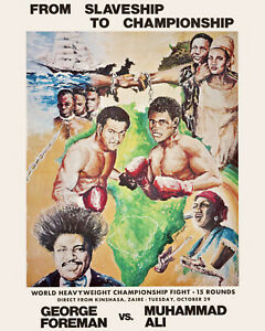 """Ali - Foreman  - """"The Rumble in the Jungle"""" Wall Art Fight Poster, 8x10 Photo"""