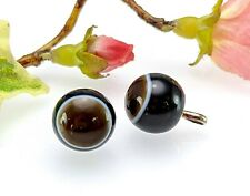 More details for antique vintage pair of banded bullseye agate buttons, 13 mm - wedding formal