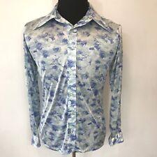 Vintage 1970s J Riggings Blue Green White Nylon Disco Shirt Mens size M L S6