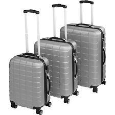 Set de 3 valises de voyage coque ABS léger rigide bagages valise trolley argent