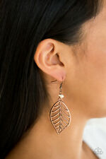 Paparazzi jewelry copper leaf white pebble earrings nwt