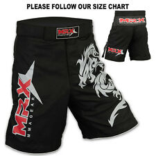 MMA Grappling Shorts Kick Boxing Cage Fight Muay Thai Dragon MRX Black, Medium