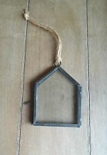 Mini Black Metal & Glass Hanging Floating Picture Photo Frame Rustic Chic Set of 4 Frames