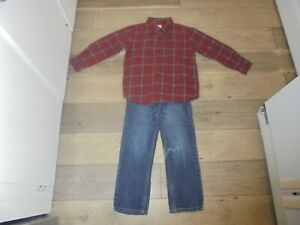 Gymboree Empire State Express jeans and plaid button front shirt outfit size 6
