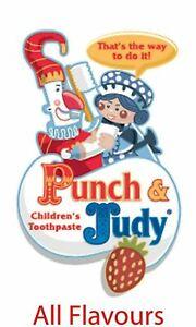 Punch & Judy Toothpaste Children Strawberry Tutti Fruitti Mildly Mint Orange