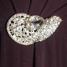 Diamante clear rhinestone silver plated brooch,bridal,maid,evening,prom (211)