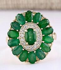 4.10 Carat Natural Emerald 14K Yellow Gold Diamond Ring