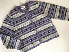 Vtg Tally-Ho Nordic Aztec Boiled 100% Wool Cardigan Sweater, Womens Size XL VGC
