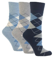 3 Pairs Ladies Blue Grey Navy Argyle Cotton Gentle Grip Socks, Size 4-8