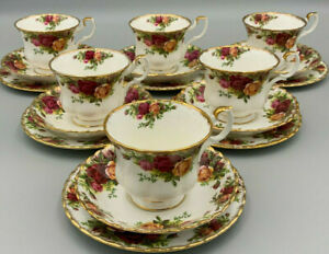 Royal Albert Old Country Roses - Set of 6 x Trios (Tea Cup & Saucer Side Plates)