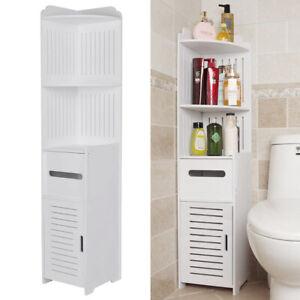 White Wood Bathroom Cabinet Corner Shelf Cupboard Bedroom Storage Rack w/ Drawer