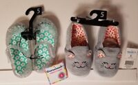 Girls Toddler Jelly Sandal and Cat Slipper Set Size 5, Two Pairs Per Order! NWT