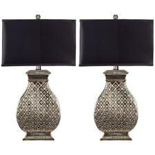 Safavieh Table Lamp 30 in. Classic Black Shade Silver Resin Base (Set of 2)