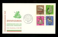 Postal History Germany Fdc #B450-B453 Tin Toys train locomotive knight 1969