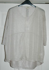 NEW Sz 8 Silver Over Size Metallic 4 Panel Kick Pleat Party Top short Sleeve