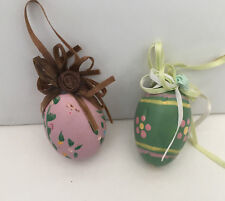 handpainted decorative wooden Easter eggs with ribbon top Easter egg tree