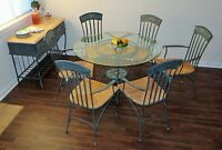 Dining Room Set of Table, Chairs, and Hutch - $350