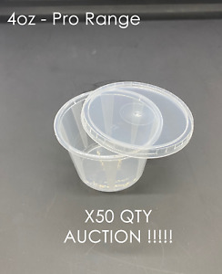 50 - 4oz  Round Food Containers Plastic Clear Storage Tubs Pots Sauce Auction !