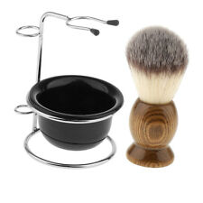 Mens Shaving Brush + Safety Razor Holder Stand + Soap Cream Mug Bowl Set Kit