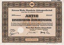 ungelochte Motoren-Werke Mannheim Aktie 1942 MWM Benz Mercedes Deutz Caterpillar