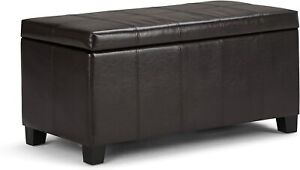 "Simpli Home Dover 36"" Rectangle Storage Ottoman Bench, Tanners Brown NEW"