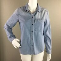 Madewell Womens Top Cotton Denim Long Sleeve Button Down Front Pocket Size S